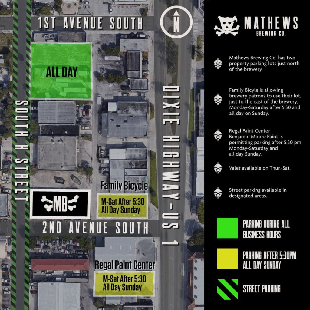 Mathews Brewing Parking Map